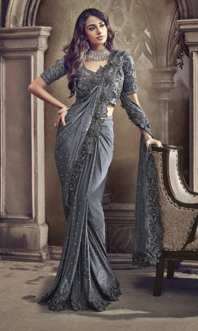 Grey Improted Fabric Party Wear Saree With Grey Blouse