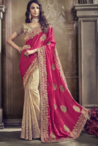Golden Red Silk Party Wear Saree With Golden Blouse
