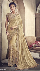 Yellow Net Party Wear Saree With Yellow Blouse