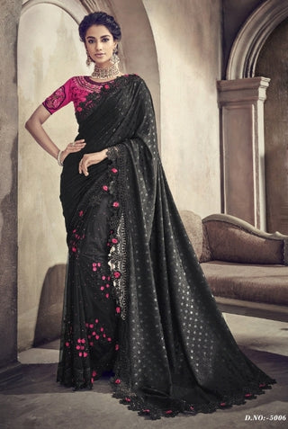Black Improted Fabric Party Wear Saree With Pink Blouse