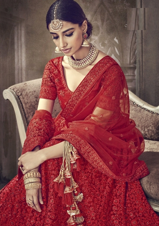 9c2a8b83e9 Red Net Party Wear Lehenga With Red Dupatta