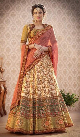 Beige Silk 2 In 1 Lehenga With Peach Dupatta