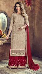 Beige Net Straight Suit With  Dupatta