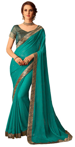 Teal Chiffon Party Wear  Saree With Blouse