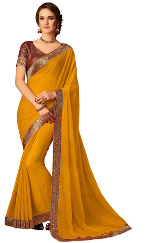 Mustard Chiffon Party Wear  Saree With Blouse