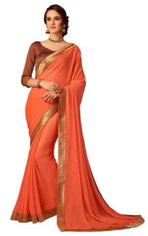Orange Chiffon Party Wear  Saree With Blouse