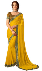 Yellow Chiffon Party Wear  Saree With Blouse