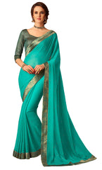 Turquoise Chiffon Party Wear  Saree With Blouse