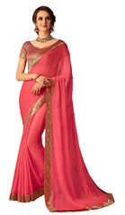 Pink Chiffon Party Wear  Saree With Blouse