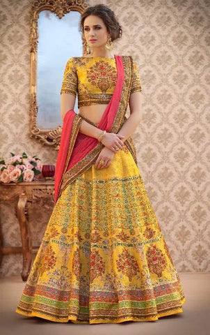 Yelllow Silk 2 In 1 Lehenga With Pink Dupatta