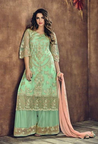 Green Net Straight Salwar Suit With  Dupatta