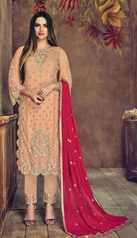 Peach Net Straight Salwar Kameez With  Dupatta