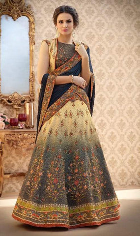 Beige Silk 2 In 1 Lehenga With Dark Blue Dupatta