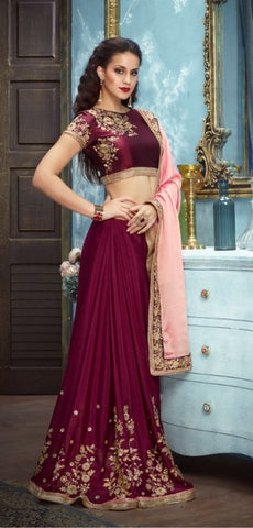 Maroon Pink Silk Party Wear Saree With Maroon Blouse