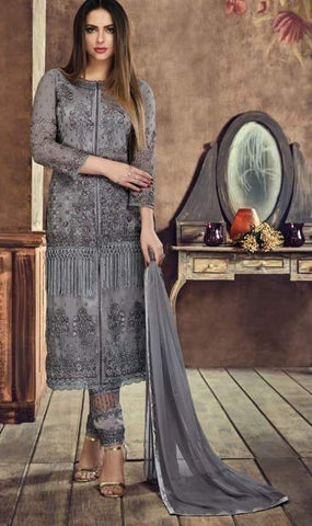 Grey Net Straight Salwar Kameez With  Dupatta