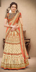 Beige Silk 2 In 1 Lehenga With Orange Dupatta