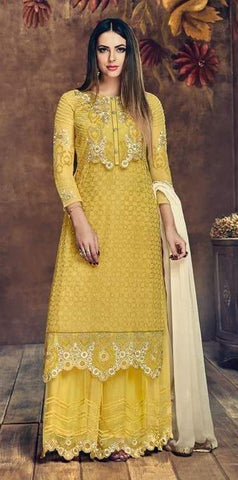 Yellow Net Straight Salwar Suit With  Dupatta