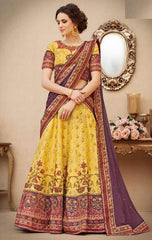 Yellow Silk 2 In 1 Lehenga With Purple Dupatta