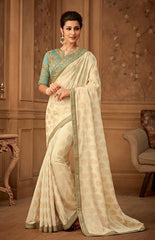 Beige Banarsi Silk Party Wear Saree Saree With Sky Blue Blouse