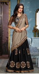 Black Georgette Party Wear Saree With Beige Blouse