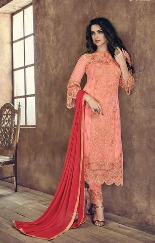 Dark Peach Net Straight Salwar Suit With  Dupatta