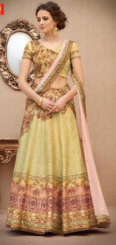 Yellow Silk 2 In 1 Lehenga With Pink Dupatta