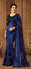 Blue Kasab Georgette Party Wear Saree With Black Blouse