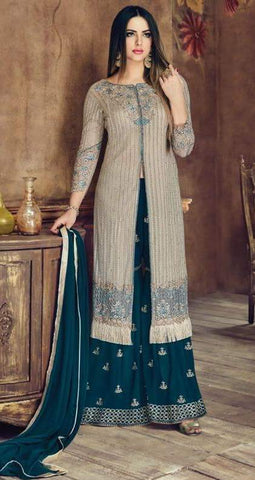 Grey Net Straight Salwar Suit With  Dupatta