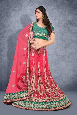 wedding lehenga Pink , Green,Net