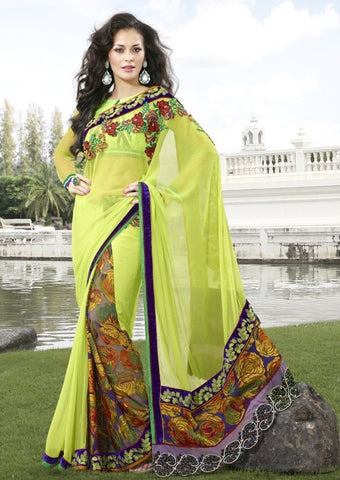 Yellow Brasso Saree with embroidery and handwork