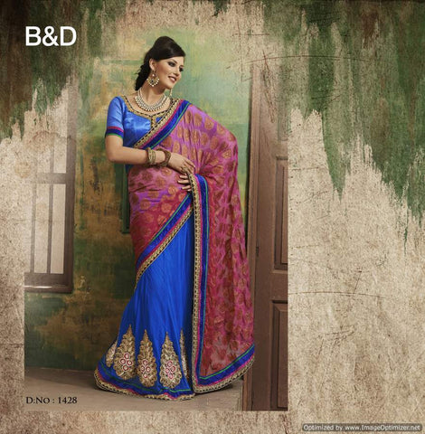 Purple and Red Viscose Saree with hand work and Embroidery