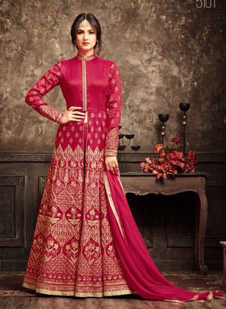 Red Banarsi Silk Front Slit Type Anrakali Suits With Dupatta