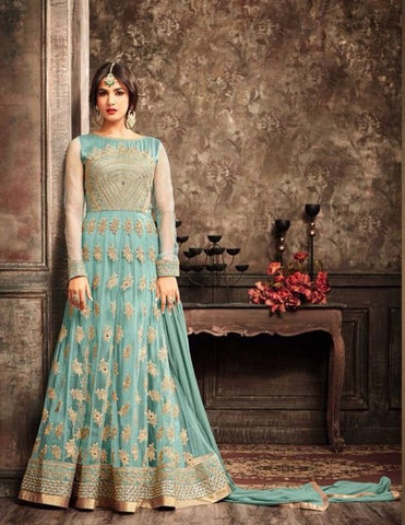 Aqua Blue Embroidered Net Anarkali Type Dress Along With Dupatta