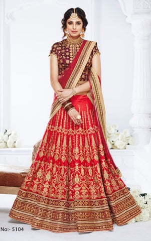 Red Net Lehenga With Zari Booti Embroidery And Maroon Blouse With Dupatta