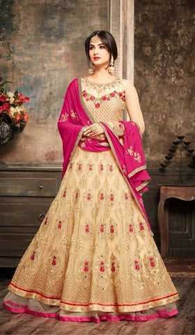 Floral Embroidery Biege Net Anarkali Type Suit With Pink Dupatta