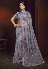 Purple Net Wedding Wear Saree With Purple Blouse