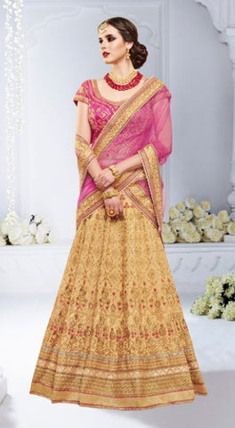 Beige Color Bridal Lehenga With Heavy Zari Embroidery With Choli And Dupatta