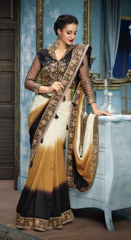 Brown Yellow White Silk Party Wear Saree With Black Blouse