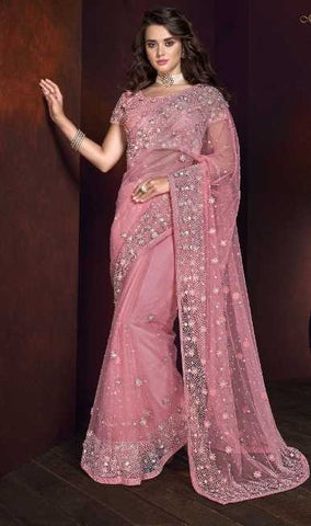 Pink Net Wedding Wear Saree With Pink Blouse