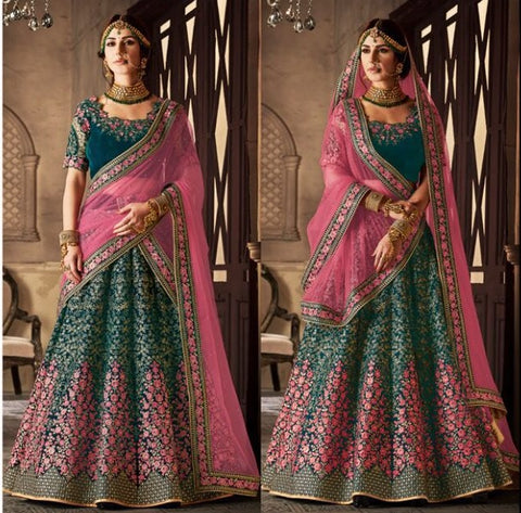 Dark Sea Green Velvet Bridal Lehnga With Embroidered Blouse Along with Pink Dupatta