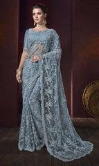 Bluish Grey Net Wedding Wear Saree With Bluish Grey Blouse