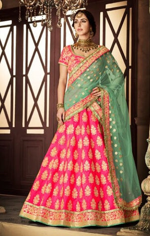 Pink Dhupion Lehenga With Green Net Dupatta And Pink Choli With Embroidery