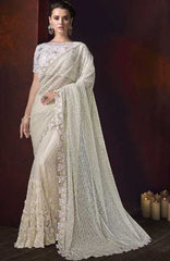 Off White Fancy Wedding Wear Saree With Off White Blouse