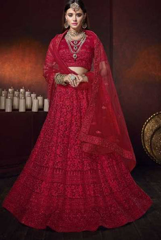 Red Net Wedding Wear Lehenga With Red Dupatta