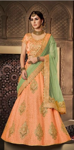 Peach And Green Party Wear Lehenga With Choli And Dupatta