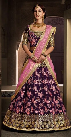Wine And Pink Color Lehenga With Choli And Dupatta