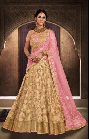 Beige and Pink Color Lehenga With Embroidery