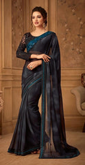 Black Kasab Georgette Party Wear Saree With Black Blouse
