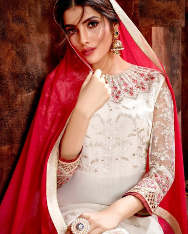 White Georgette Party Wear Suit With  Dupatta