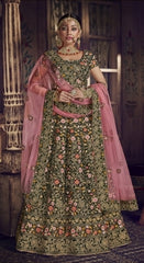 Green Velvet Party Wear Lehenga With Pink Dupatta